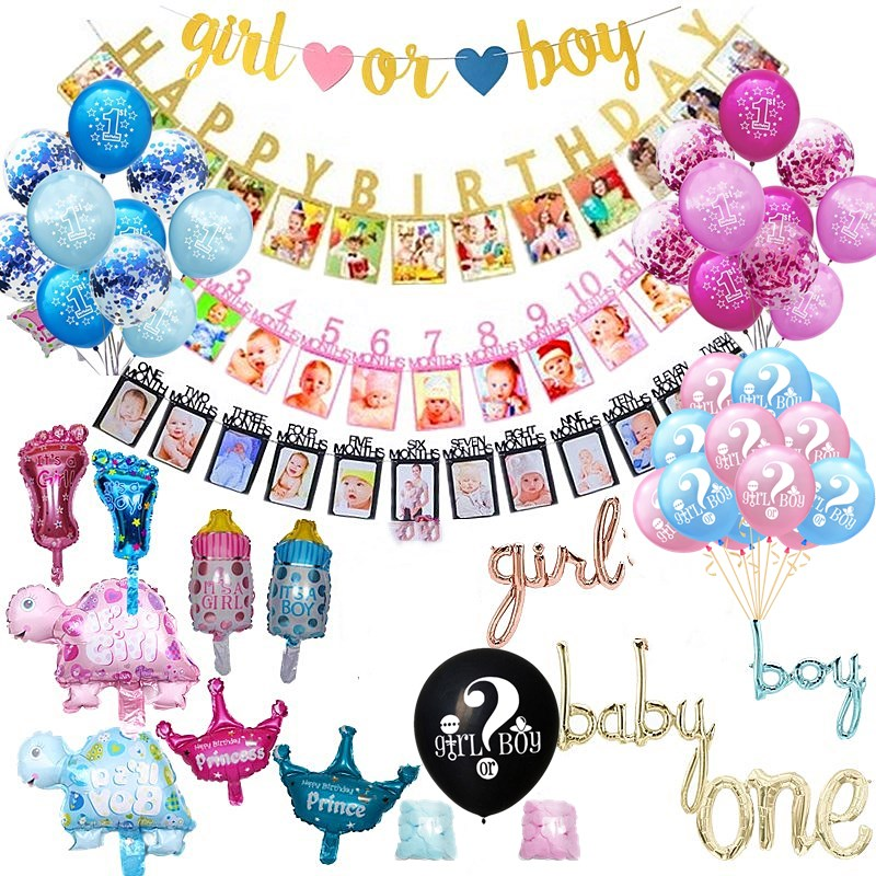 Baby Shower Boy <font><b>Girl</b></font> Latex Balloons Confetti Set My 1st <font><b>Birthday</b></font> Party <font><b>Decoration</b></font> Kids Happy <font><b>Birthday</b></font> Balloon <font><b>1</b></font> Year Old image