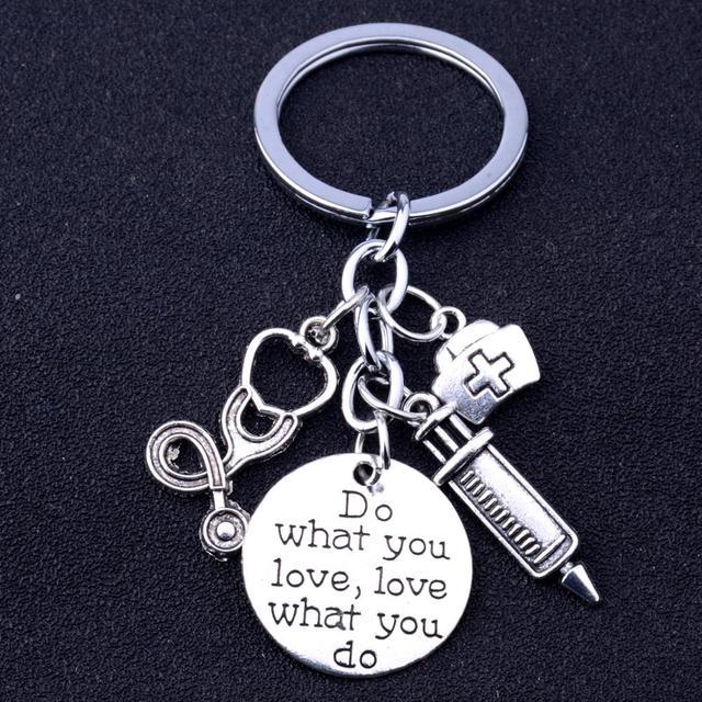 12PC Do What You Love Love What You Do Keychain Nurse Stethoscope Syringe Keyring Women Girls Key Chain Nurse's Day Gift Key Fob