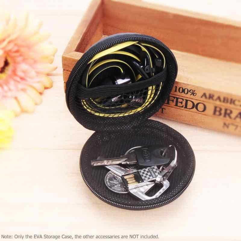 Mini Ronde EVA Case Hoofdtelefoon Bluetooth Oortelefoon Kabel Opbergdoos