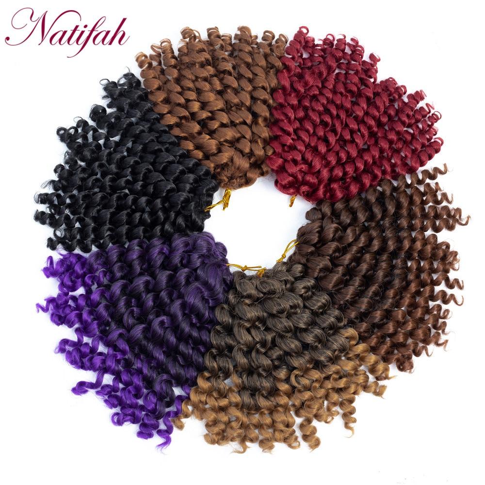 Natifah 8 дюймов Jumpy Wand Curl Chrochet, волосы для наращивания, синтетические волосы для наращивания, Омбре, цвет красный, фиолетовый, черный