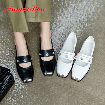 ANMAIRON 2020 Sexy Genuine Leather Square Toe Casual Slip-On Mary Janes Pumps Women Shoes Square Heel Crystal Women High Heels