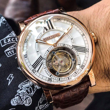 Reef Tiger/RT Casual Designer Watch for Men Tourbillon Automatic Watch with Alligator Strap Luxury Rose Gold Watches RGA1999