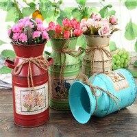Tabletop leite pode metal barril circular vaso de flores vaso planta vintage retro jardim plantio vaso de flores decoração para casa