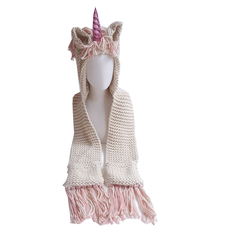 Children Rainbow Unicorn Soft Skullies Beanies Hats Shawl Scarf Set With Two Pockets Warm Knitted Kids Girls Bonnet Cap