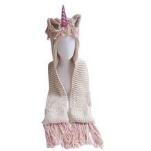 Scarf-Set Bonnet-Cap Beanies-Hats Rainbow Skullies Knitted Warm Girls Kids Children Unicorn