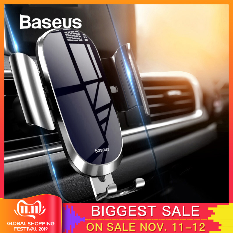 Baseus Car Phone Holder For IPhone Samsung Mobile Phone Holder Stand Metal Gravity Air Vent Mount GPS Cell Phone Holder In Car