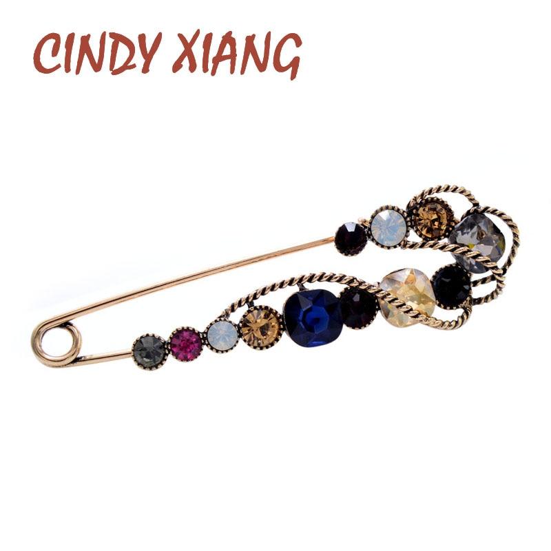 CINDY XIANG-broches de alfiler grande con diamantes de imitación para mujer, Pin vintage de Jersey, diseño de moda, broche de boda, alta calidad, novedad de 2020
