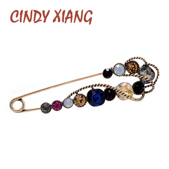 CINDY XIANG Rhinestone Large Pin Brooches For Women Vintgae Sweater Pin Fashion Design Wedding Brooch High Quality New 2020 cindy xiang colorful cubic zirconia daisy brooches for women sunflower brooch pin copper jewelry zircon corsage high quality