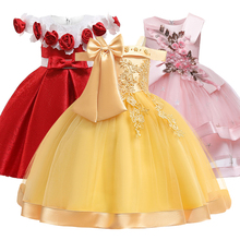 New Style Girl Wedding Party One character Shoulder Suspender Dress Girl Bow Nail Pearl Flower Banquet Ball Dress vestidos