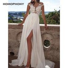 HOMOPHONY Sexy Lace Deep V-Neck Ruffle White Dress Patterns White Designer Sleev