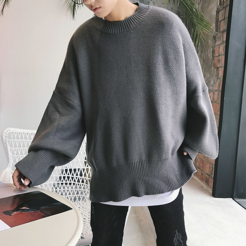 2019 Spring And Autumn New Youth Popular Pullover Cotton Fashion Casual Loose Solid Color Sweater Black Gray / Red M-2XL