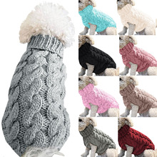 Sweaters Knitted Chihuahua Clothing Twist-Clothes Turtleneck Puppy Winter Autumn Spring