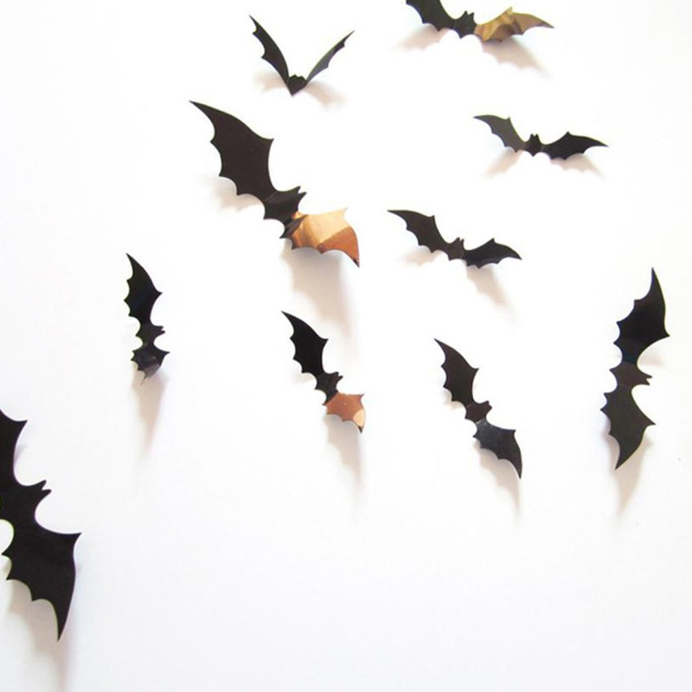 12pcs Three-dimensional Bat Wall Sticker Halloween Decoration title=