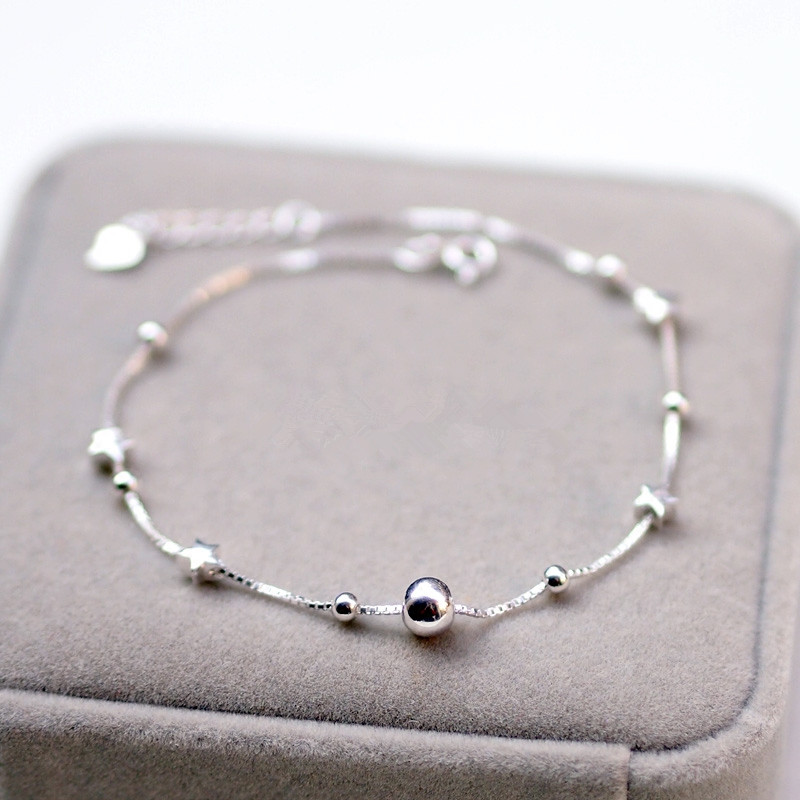 925 Sterling Silver Anklet For Women Bohemian Beads And Star Foot Jewelry Summer Beach Barefoot Anklet Leg Chain Send Girlfrie in Anklets from Jewelry Accessories