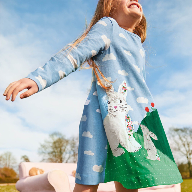 Baby Girls Dresses Clothes Kids Cotton Rabbit Dress Animal Appliqued Children Clothing Toddler Girl Dress Princess Costume 2-7Y 2
