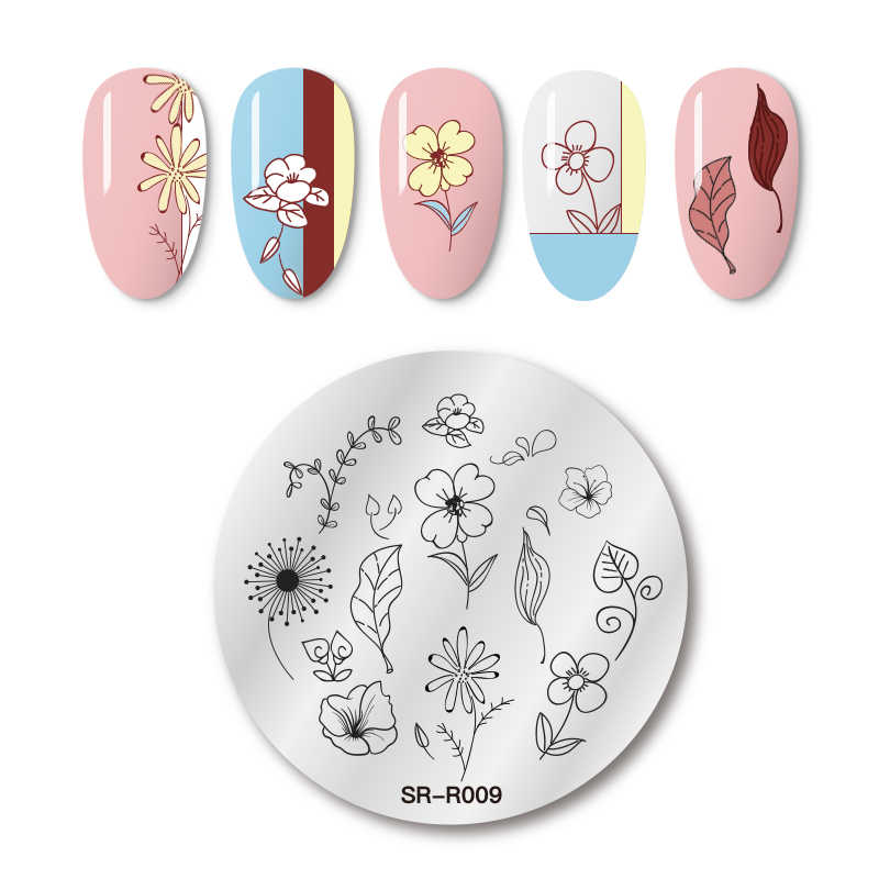 MEET ACROSS Natural Plants Nail Stamping Plates Flowers Patterns Nail Art Plate Stencil Stainless Steel Design Stamp Templates