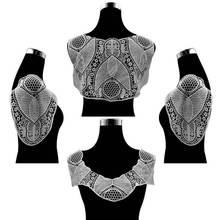 4PCS/Set Elegant White Cotton Lace Fabric Collar Trim Embroidery Laces Applique Sew On Patch DIY Dress Garment Sewing Accessory