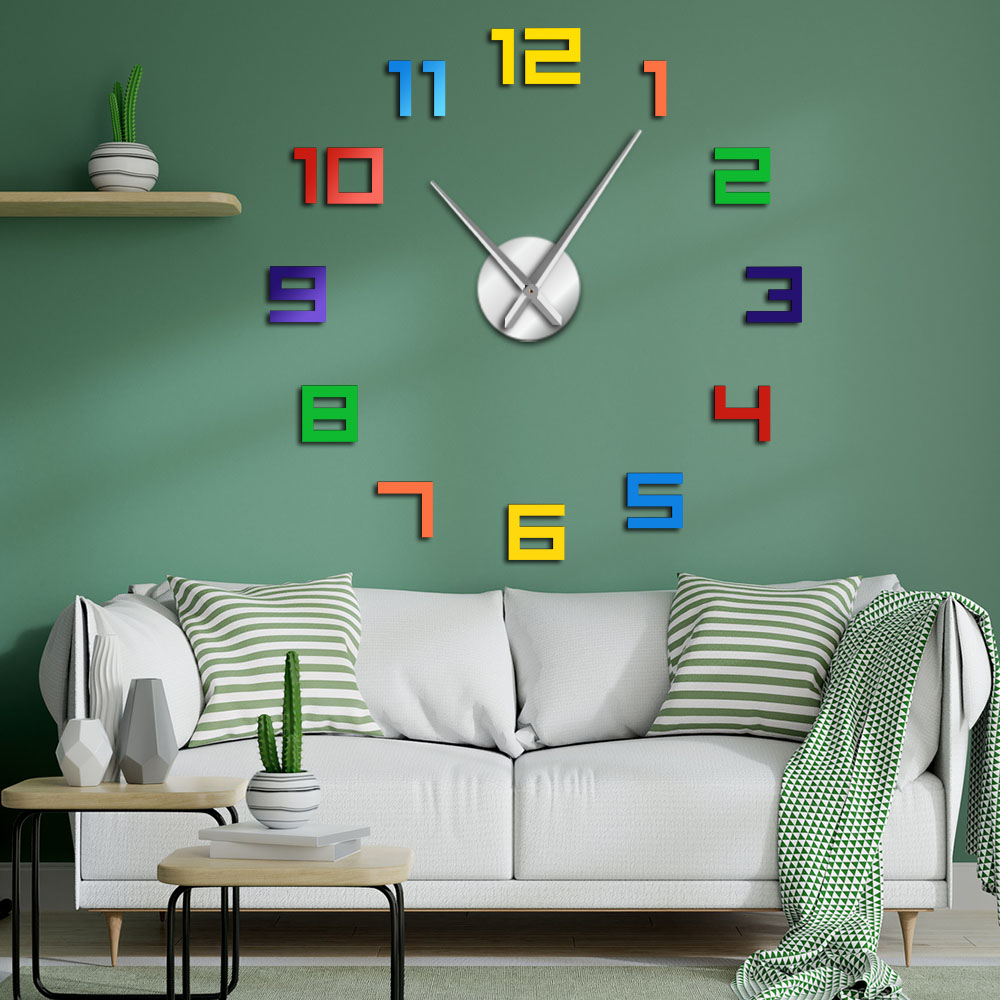 Colorful Numbers Wall Clock Rainbow Colors DIY Giant Wall Clock Multicoloured Arylic DIY Wall Clock Big Numbers Home Decor Clock