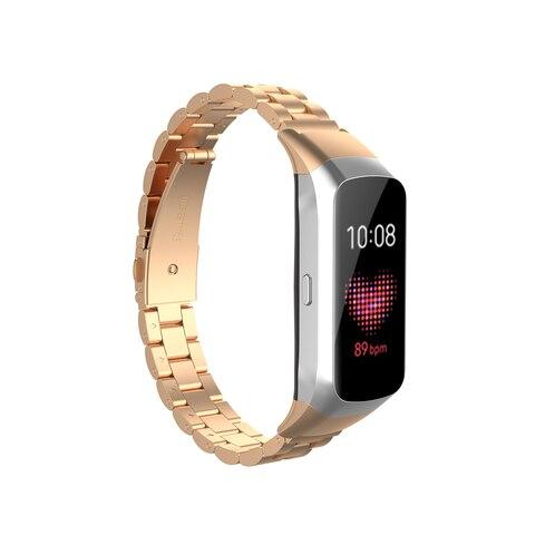 Medium Size Unisex for Samsung Galaxy Fit SM-R370 Watchband Smart Watch Three Beads Stainless Steel Strap Smartwatch Accessories Multan