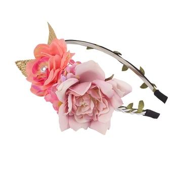 Hairband halo Bohemian Bride Flower Crown Headdress Women Wedding Hair Accessories Wreath Girls Floral Headband for Party Photo