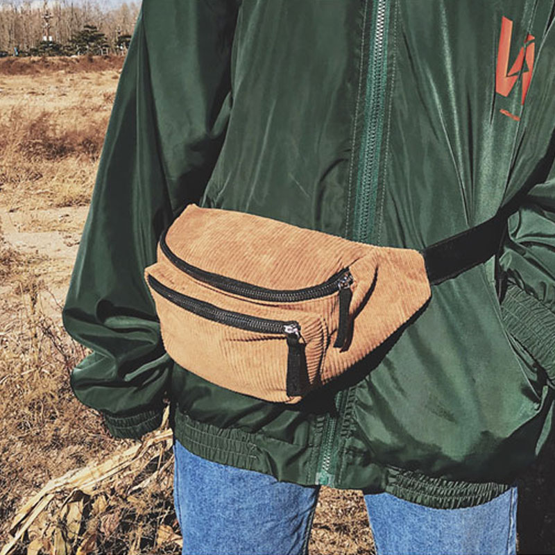 Corduroy Waist Bag Designer Zipper Chest Bag Sport Travel Fanny Pack Girl Waist Belt Bags Fashion Phone Waist Pack For Women