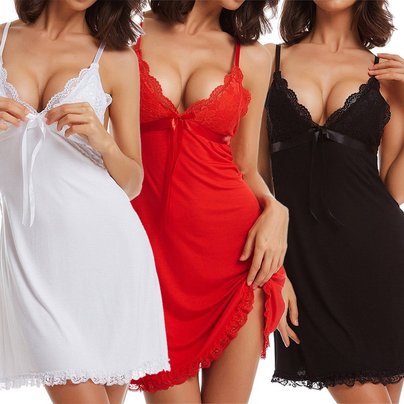 Erotic Lace Underwear Sexy Hot Babydoll Sexy Lingerie Female Lace Open Front Night Gowns Mini Sexy Clothing 2019 Hot