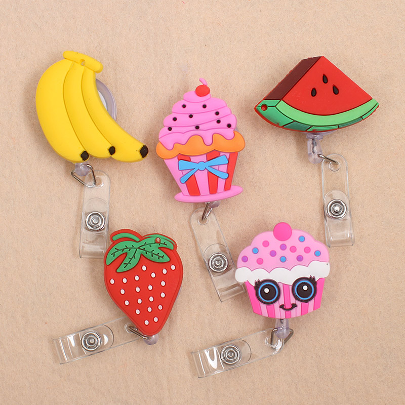 1 Pc New Cute Strawberry Fruits & Cake Retractable Pull Badge Reel ID Lanyard Name Tag Card Badge Holder Reels For KIDS