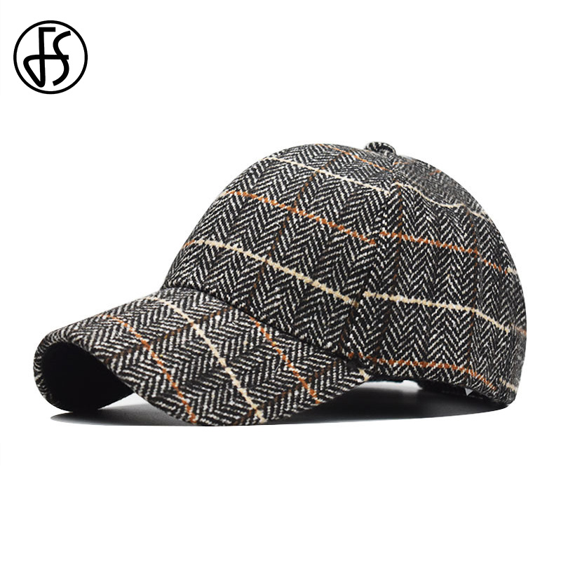FS Spring Winter Plaid Baseball Cap Adjustable Vintage Women Men Caps And Hats Black Brown Tweed Dad Hat Casqette Homme