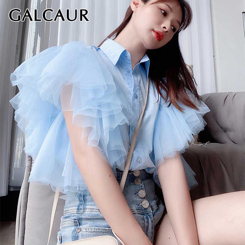 Galcaur Koreaanse Patchwork Mesh Shirt Voor Vrouw Revers Kraag Mouwloze Onregelmatige Oversized Losse Blouse Vrouwelijke Nieuwe Kleren 2020