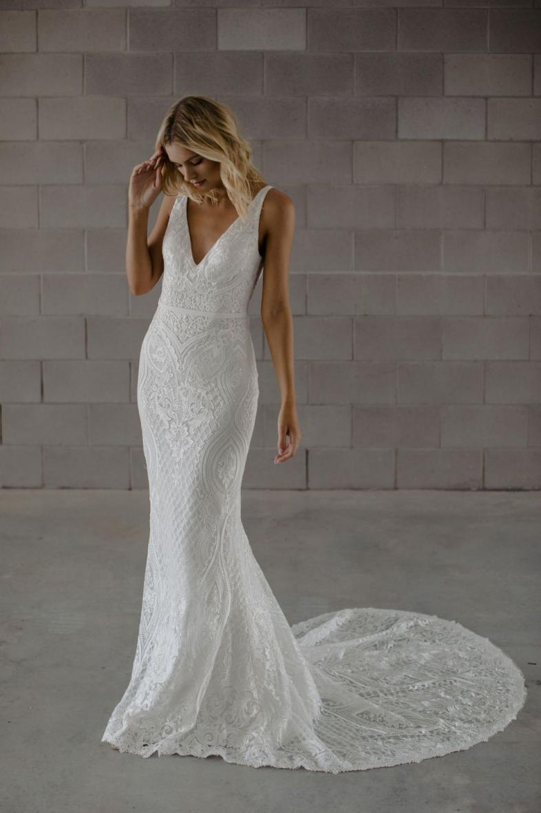 Boho Wedding Dress Mermaid 2020 Appliques Lace Zipper V-Neck Custom Made Bohemian Wedding Gowns Bride Dresses HA179