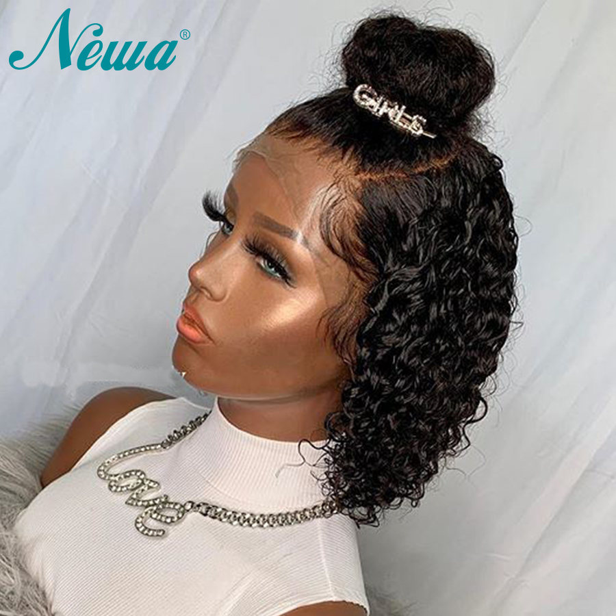 Curly Full Lace Human Hair Wigs Pre Plucked Bleached Knots Short Full Lace Wig For Black Women Newa Brazilian Remy Hair Wigs