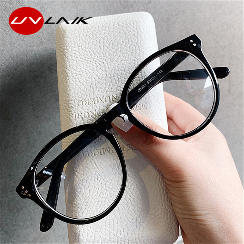 UVLAIK Fashion Transparent Round Glasses Clear Frame Women Spectacle Myopia Glasses Men EyeGlasses Frame Optical Frames Clear