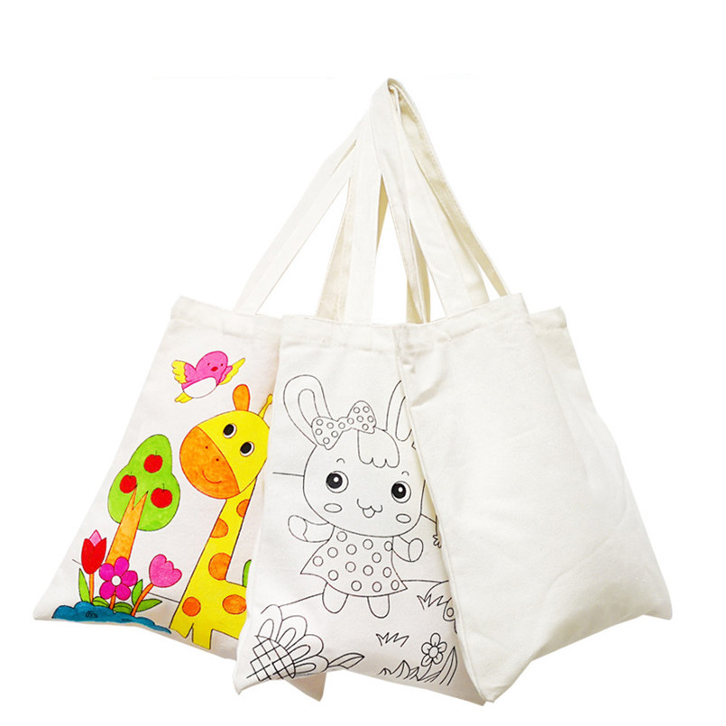 27*56cm Children DIY Hand Painting Canvas Bag Draw Crafts Toy Handmade Graffiti Shoulder Bag Kindergarte Fill-color Drawing Toys