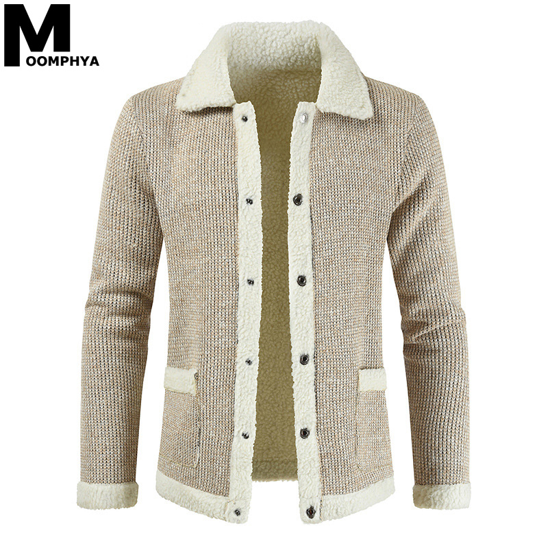 Mens Knitted Sweater Cardigan Winter Warm Casual Long Sleeve Collar Coat