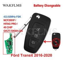 GK2T-15K601-AA para ford transit 2016 2017 2018 2019 2020 433mhz id49 flip remoto carro chave fob bateria mutável