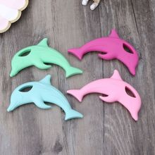 Baby Teether Pacifier Cartoon Dolphin Teething Nursing Silicone BPA Free Necklace Toys