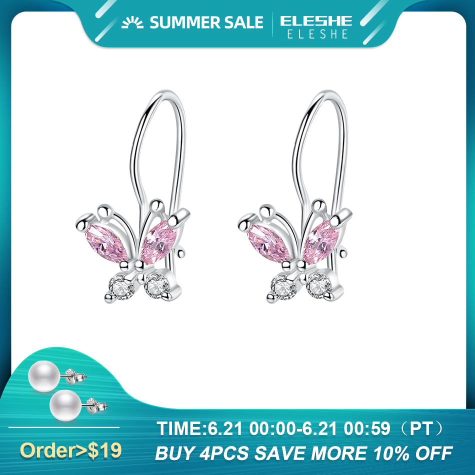 ELESHE Sparkling Crystal Cute Butterfly Earrings 925 Sterling Silver Small Hoop Earrings for Kids Baby Girls Children Jewelry