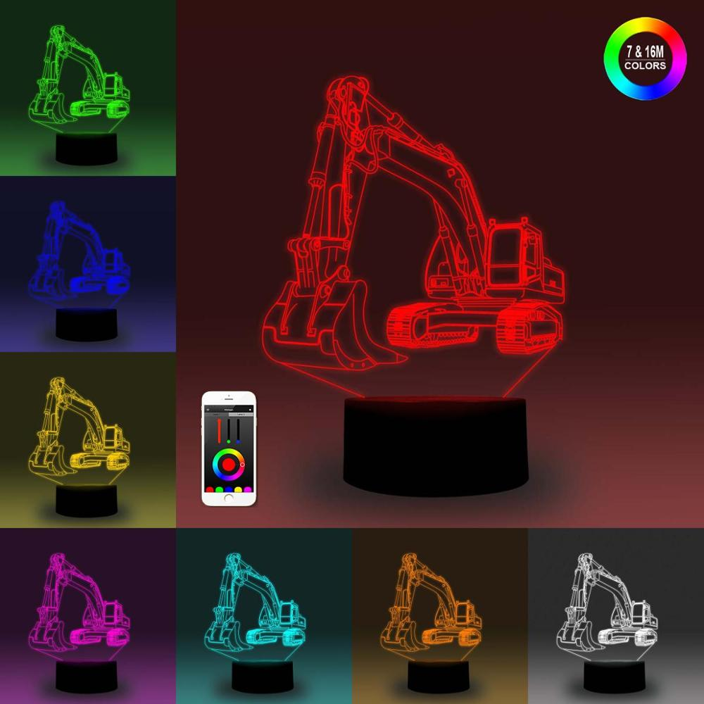 NiteApps 3D Excavator Night Light Desk Table Illusion Decoration Lamp Holiday Birthday Gift APP/Touch Control