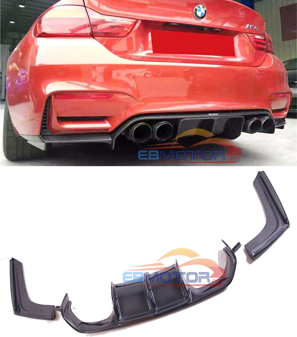 V Style Real Carbon Fiber Rear lip Diffusr For BMW F8X F80 F82 M3 M4 2014UP B473 image