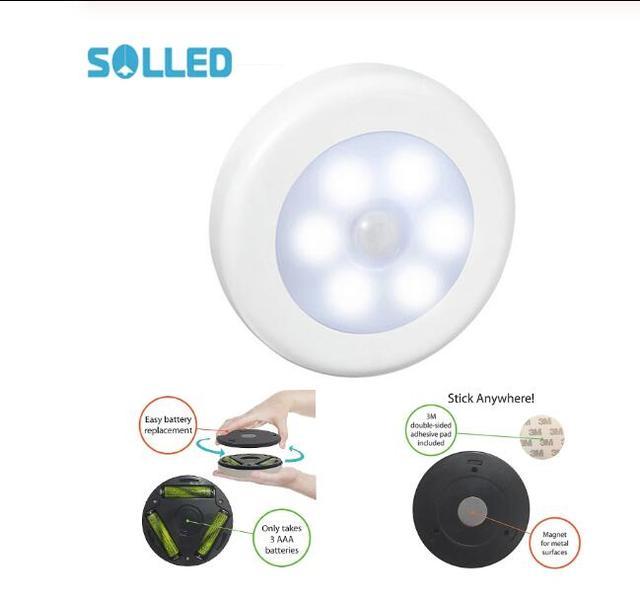 1pcs 바디 모션 센서 6LED 벽 램프 밤 빛 유도 램프 복도 캐비닛 led 검색 램프 홈 전자 accessorie