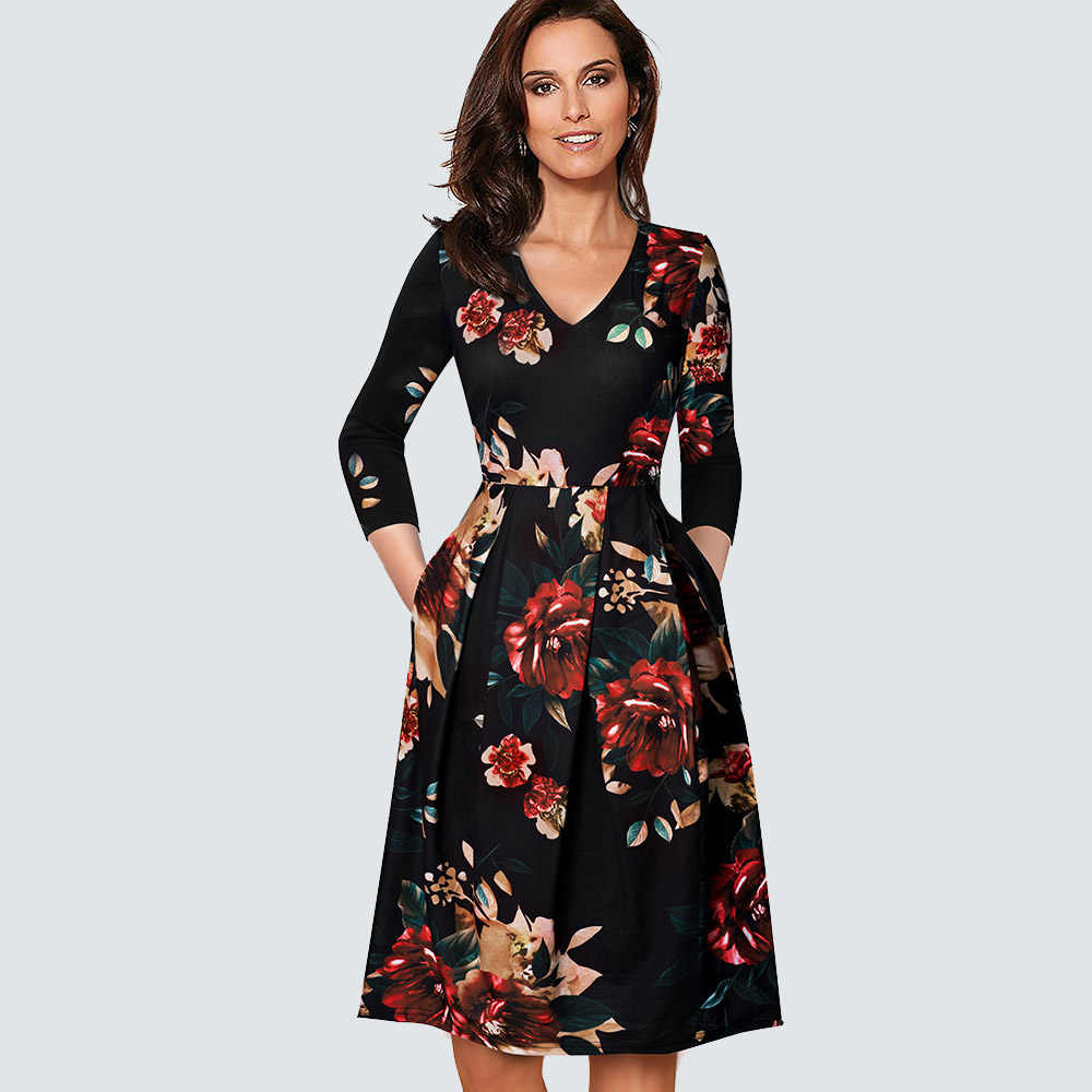 Femmes Vintage ajustement et Flare balançoire décontracté plissé patineuse bureau robe de soirée HA126