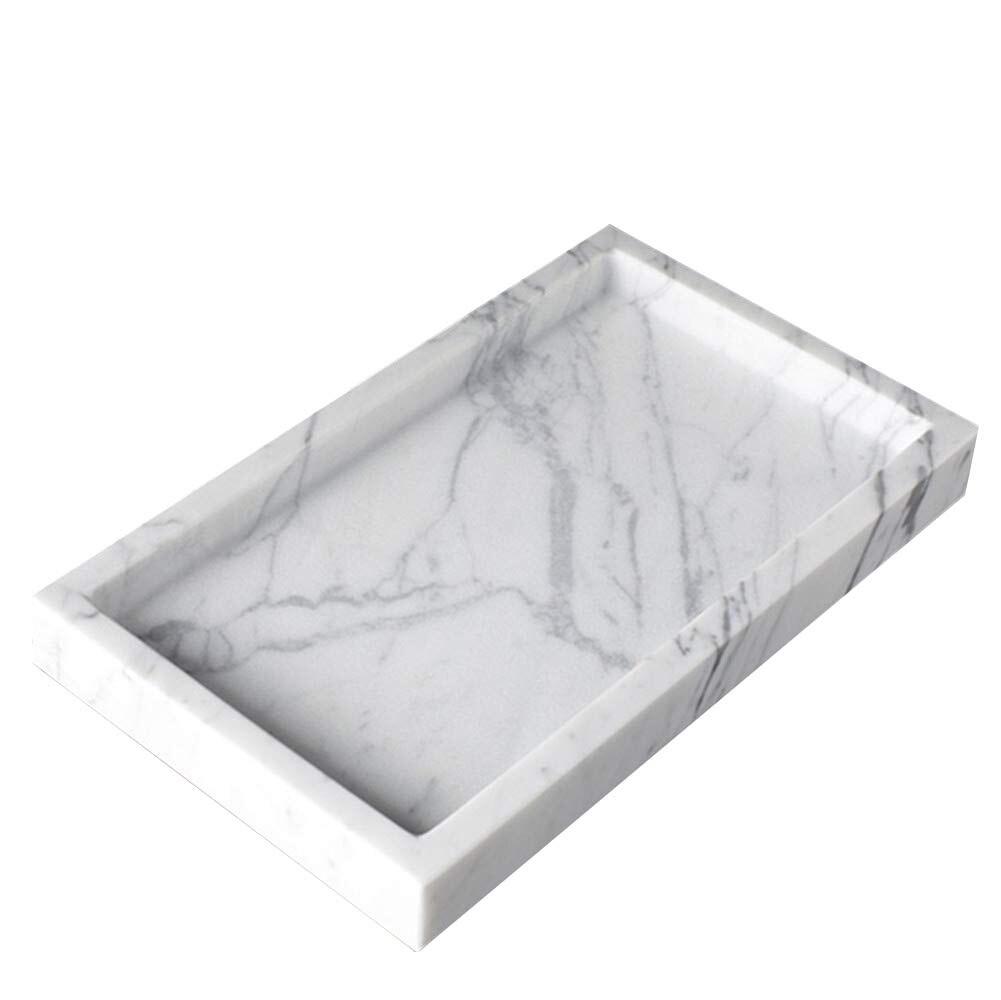 plateau de vanite de luxe rectangulaire en marbre naturel organisateur de pierre pour salle de bain cuisine cafe 30x20x3cm