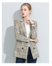 Women Blazer Runway Jacket Plus size Plaid Slim Female 2019 Suits Cotton Coat Casual Office Ladies Outerwear blazers mujer S0264(China)