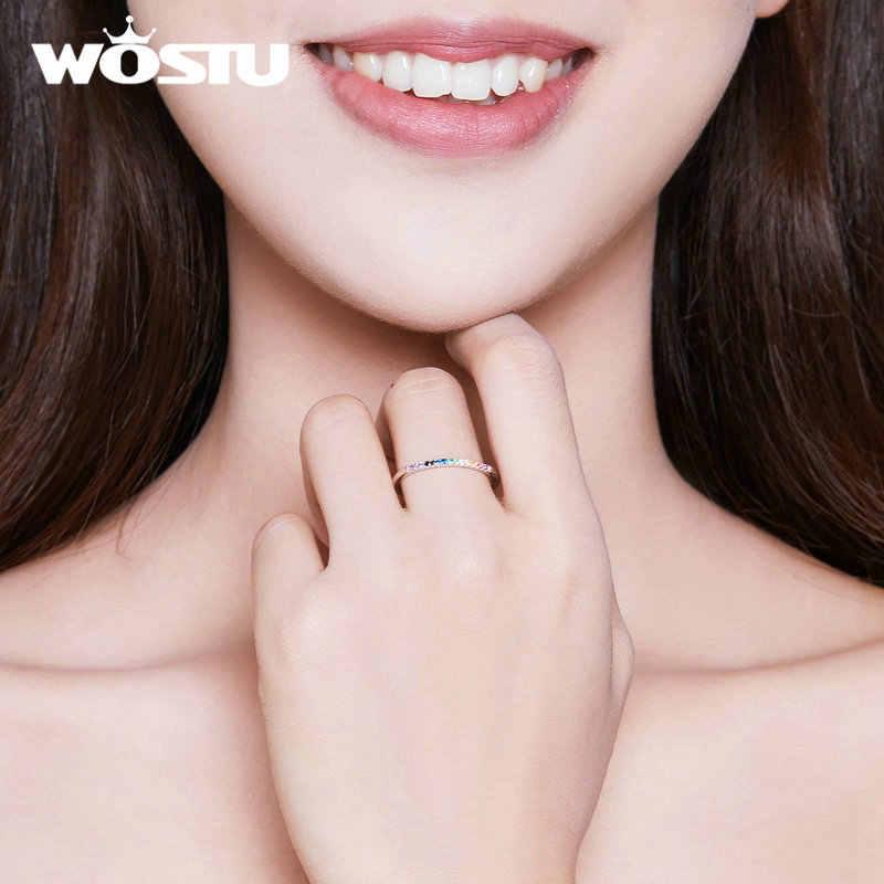 WOSTU HOT ขายแท้ 925 เงินสเตอร์ลิงแหวน Zircon สีสันสดใสสำหรับผู้หญิงของขวัญหมายถึงสีสันชีวิตและแสดง NICE Future CQR583