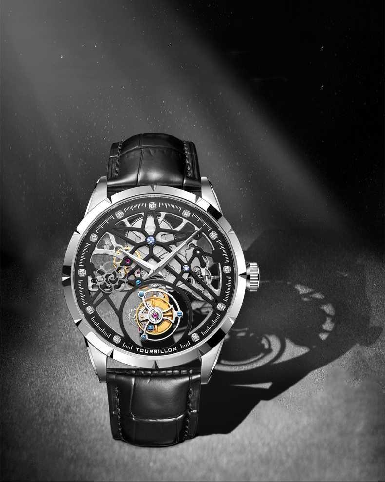 ใหม่หรูหราผู้ชายนาฬิกาสองด้านมุมมอง Tourbillon นาฬิกากลไกอัตโนมัติ Pilot นาฬิกาธุรกิจชาย