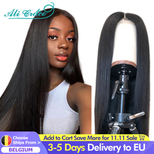 Ali Grace Straight Front Wigs for Women 13x4 Lace Front Human Hair Wigs Natural Color Brazilian Straight T Part Lace Frontal Wig