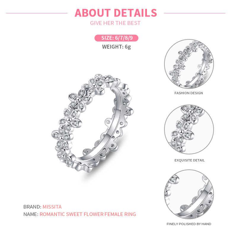 MISSITA 100% 2019 חדש אופנה רומנטי מתוק פרח טבעות לנשים בנות מתנה מעוקב זירקון כסף מותג תכשיטים