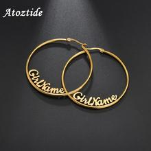 Atoztide Personalized Name Letter Earrings Stainless Steel For Women  Color Custom Name Cricle Earrings Weddings Party Jewelry