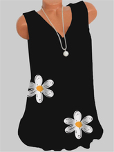 Fashion V-neck T-shirt Ladies Sleeveless Vest T-shirt Casual Large Size Top Women