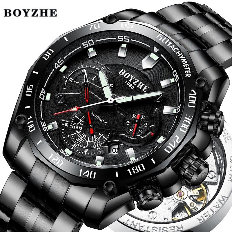 BOYZHE 2019 montre homme automatique mécanique lumineux marque de luxe noir Sport militaire en acier inoxydable montres Relogio Masculino